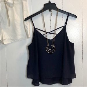 One Clothing Navy Camisole Swing Top